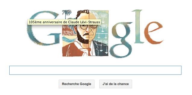 Claude Lévi-Strauss, l'anthropologue et ethnologue français, en doodle du jour