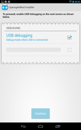 Vous devez activer le débogage par USB