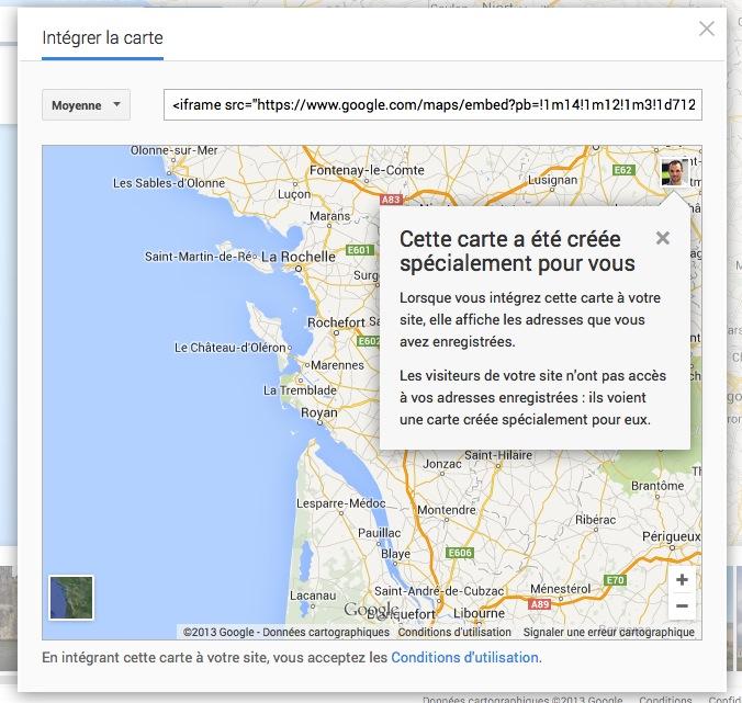 Google Maps permet maintenant d'intégrer une carte où vous le souhaitez, incluant de la publicité