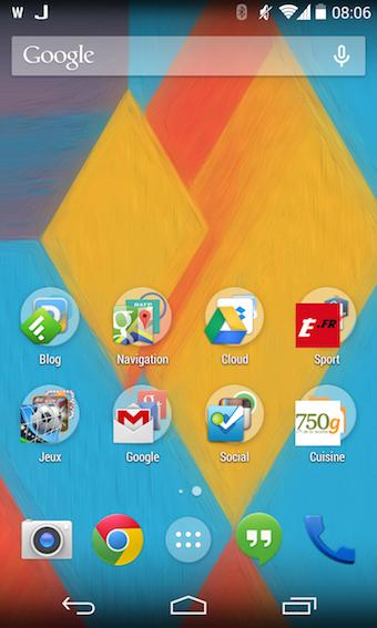 Lanceur d'applications du Nexus 5 également installé