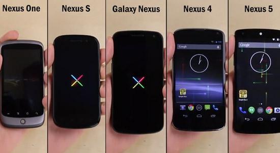 Nexus 5 vs. Nexus 4 vs. Galaxy Nexus vs. Nexus S vs. Nexus One, le tout en vidéo