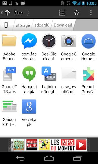 ASTRO permet de parcourir vos fichiers sur votre carte SD
