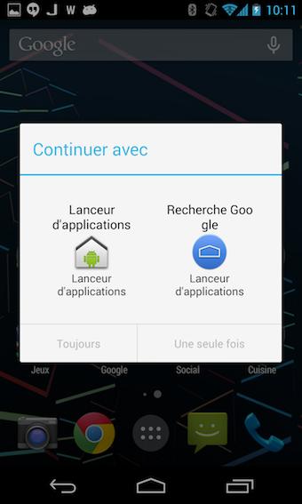 Choisir le nouveau lanceur d'applications par défaut