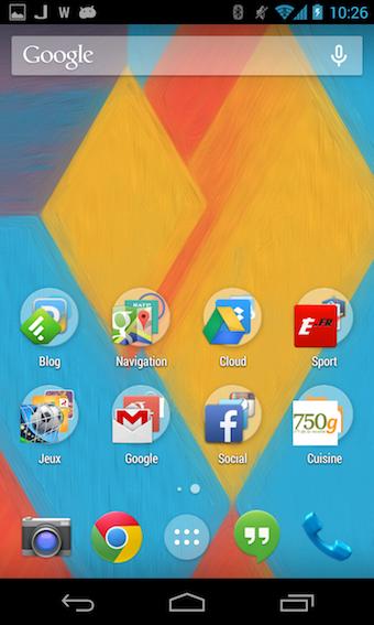 Écran d'accueil Android 4.4 KitKat sur le Nexus 4