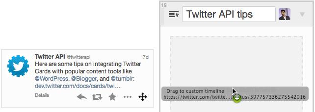 Vous pouvez glisser vos tweets dans une timeline personnalisée