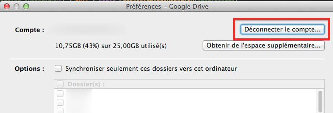 Déconnecter un compte Google Drive