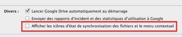 Supprimer les icônes d'état de synchronisation des fichiers