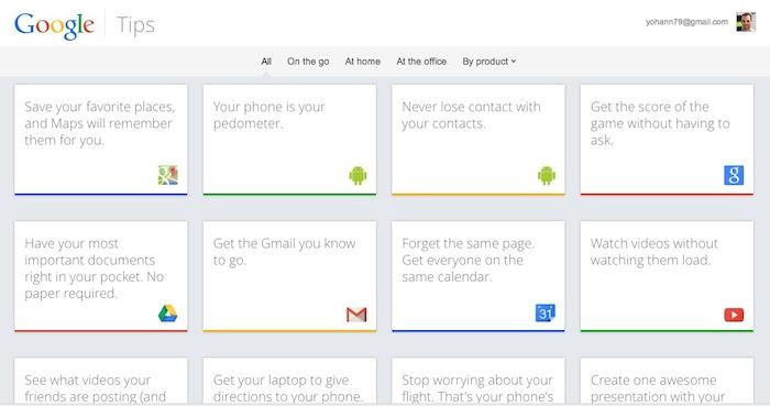 Affichage des cartes des conseils de 13 services de Google