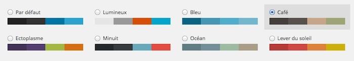 Choix des coloris