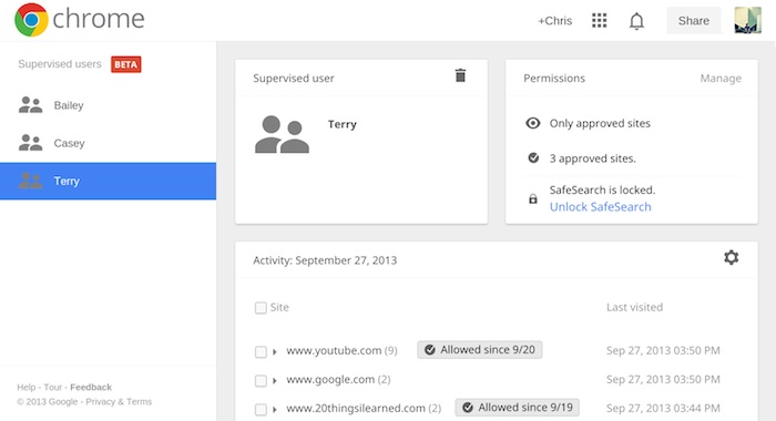Chrome supervised users