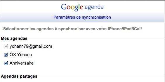 Paramètres de synchronisation de Google