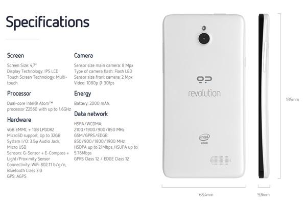 Spécifications du Geeksphone Revolution