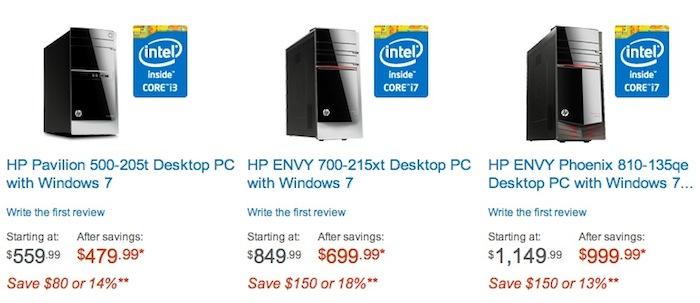 Section ordinateurs de bureau HP