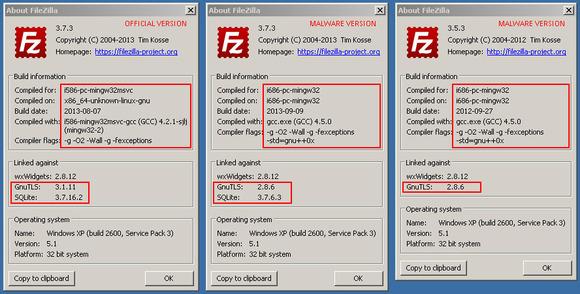 Une version de FileZilla en circulation sur le net récupère des données