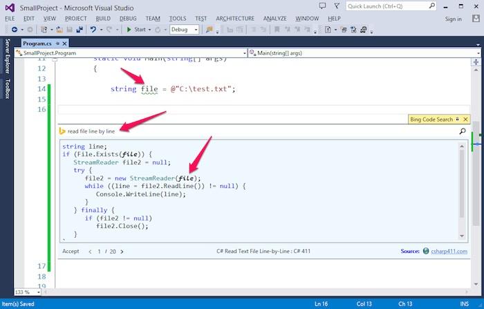 Bing Code Search arrive au sein de Visual Studio