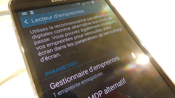 Capteur d'empreintes digitales sur le Galaxy S5