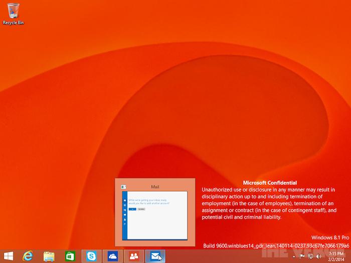 Il sera possible d'accéder aux apps Modern UI sur l'interface de bureau