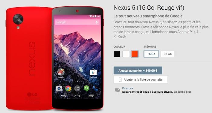 Nexus 5 rouge sur le Google Play Store