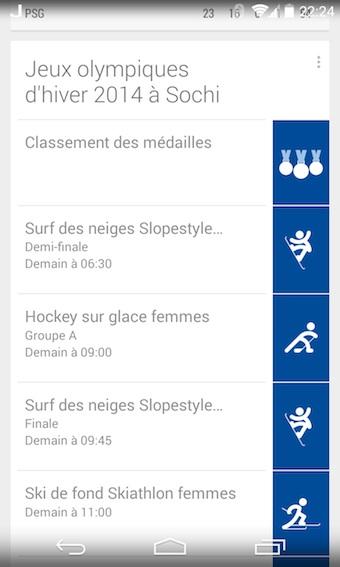 Carte JO de Sochi dans Google Now