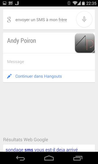 Google Now pour envoyer un SMS