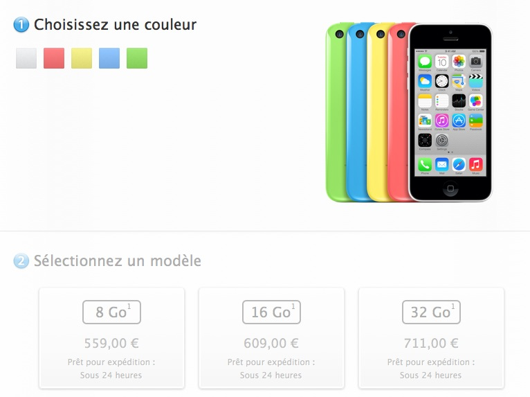 Apple commercialise son iPhone 5C de 8 Go