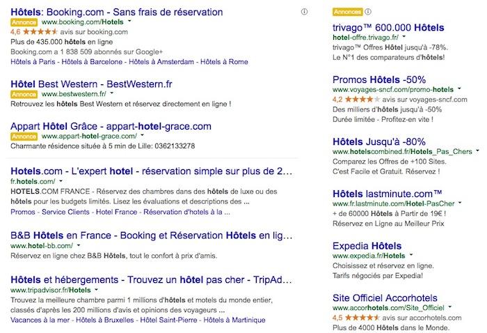 Google teste une mise en page de recherche alliant publicité et résultats réels