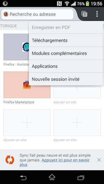Accès aux applications depuis Firefox 29 bêta
