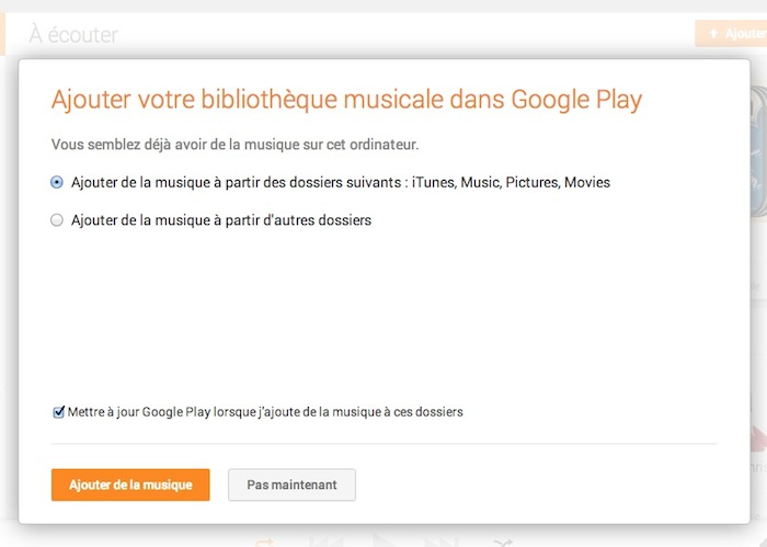 Ajouter votre bibliothèque musicale dans Google Play