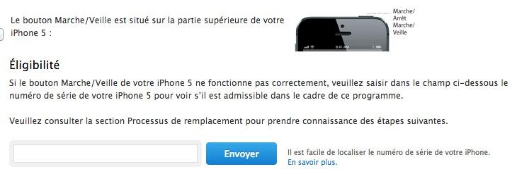 Page de programme de remplacement du bouton sur l'iPhone 5