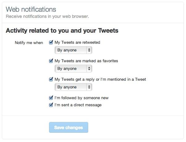 Configuration des notifications à recevoir
