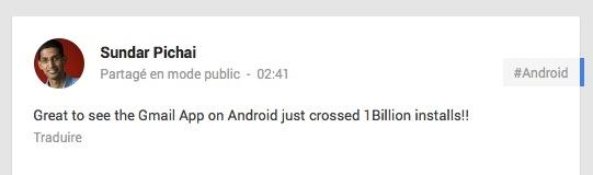 Un milliard de téléchargements pour Gmail sur Android
