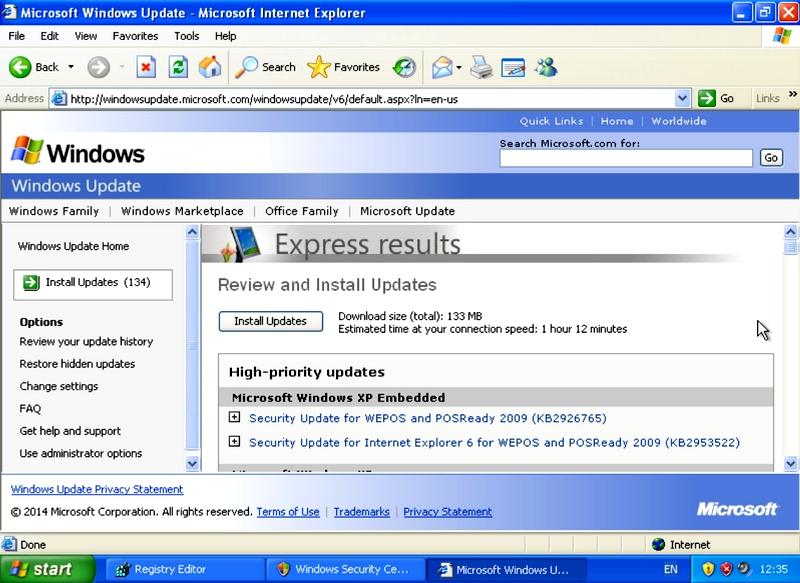 Une fois une bidouille sur Windows XP vous recevrez les mises à jour de sécurité pour 5 ans