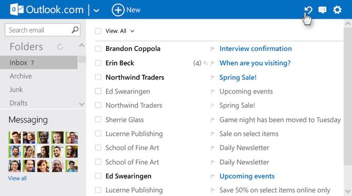 Annulation d'une action dans Outlook.com