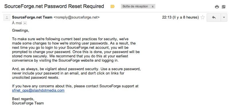 SourceForge pousse la réinitialisation de votre mot de passe