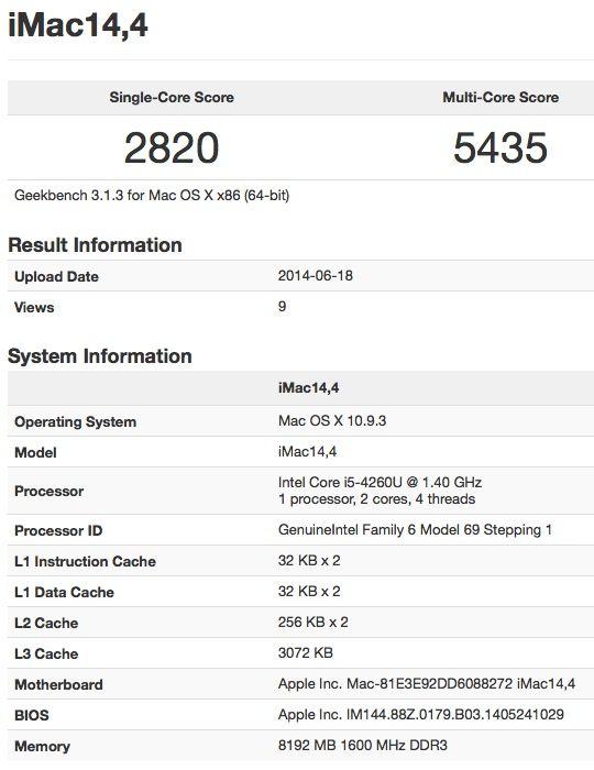 Benchmark du nouvel iMac d'Apple