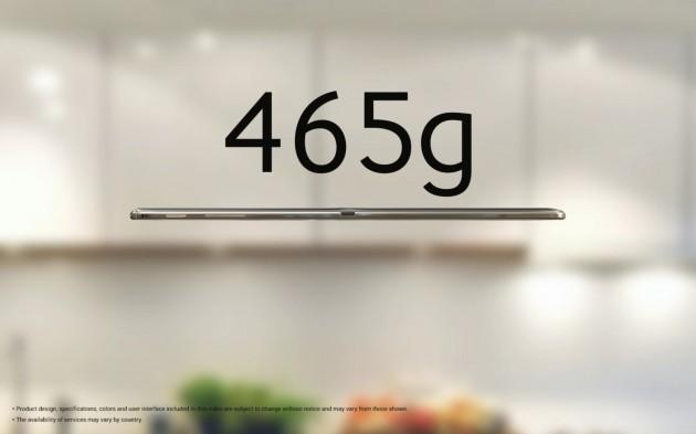 Samsung Galaxy Tab S : poids de 465 grammes pour le modèle de 10,5 pouces