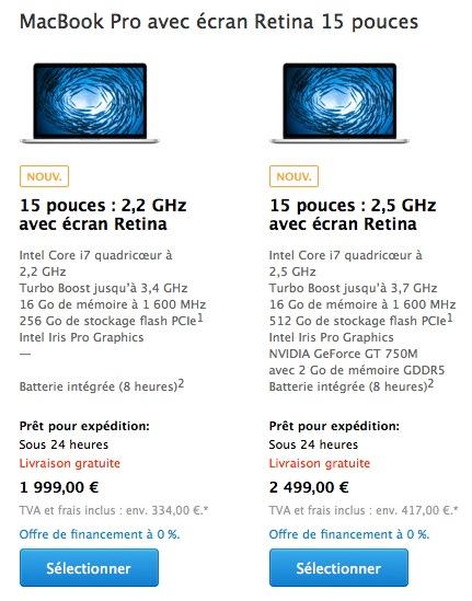 Nouveaux MacBook Pro Retina de 15 pouces