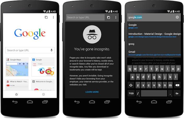 Chrome pour Android : le design Material déployée