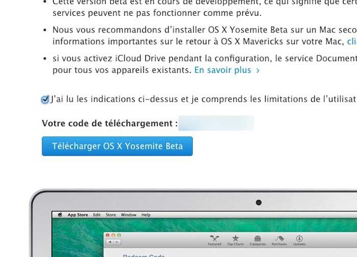 Activation et téléchargement de OS X Yosemite Beta