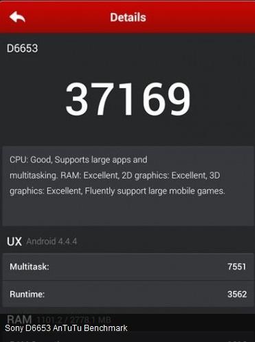 Le prétendu Sony Xperia Z3 est arrivé sur AnTuTu avec un score de 37 169 points