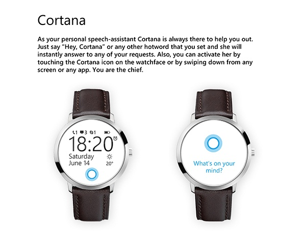 Cortana au centre d'un concept de la smartwatch de Microsoft