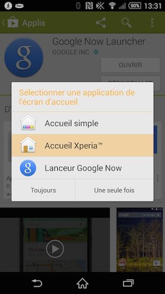 hoix du lanceur Google Now Launcher après installations sur le Xperia Z2
