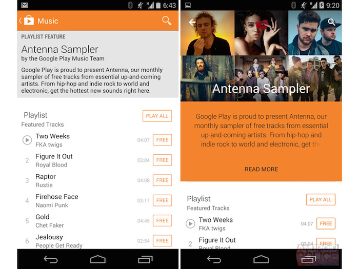 Google Play Store 5.0 : page de Antenna Sampler