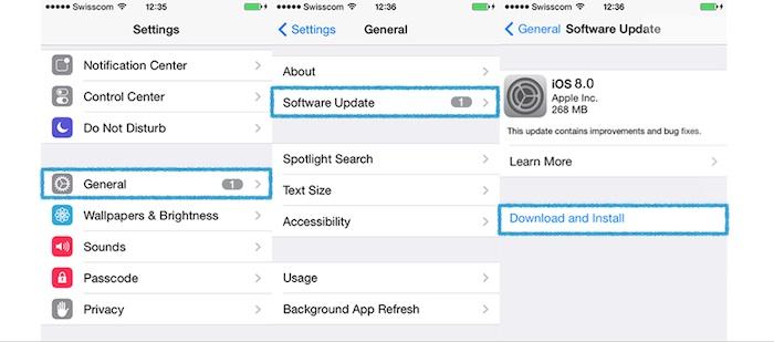 iOS 8 : mise à jour
