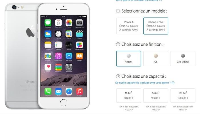 Prix de l'iPhone 6 Plus
