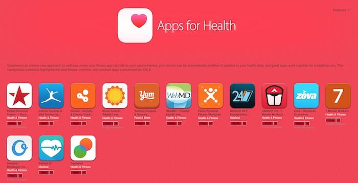 Les apps pour HealthKit obtiennent leur propre section sur iTunes
