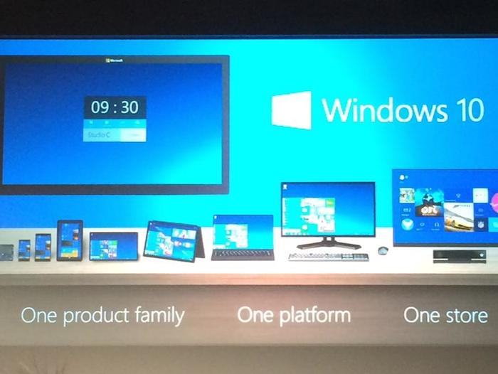 Windows 10 : One product family. One plateform. One store