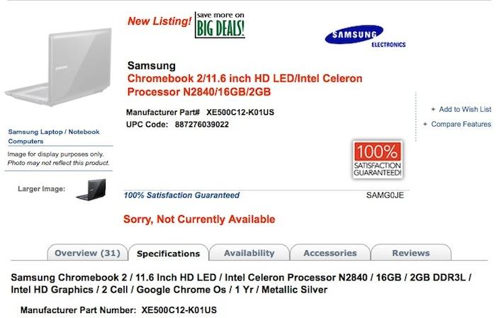 Un Chromebook Samsung avec une puce Intel Celeron Bay Trail ?