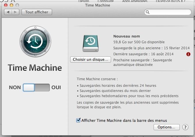 Sauvegarde Time Machine