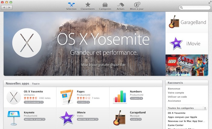 OS X Yosemite sur le Mac App Store